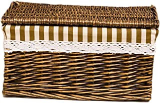 Q.AWOU Laundry Baskets Household Rattan Cotton Burlap Lining with Lid Dirty Hamper Clothes Sundries Storage Basket (Size : 44 31 24cm)