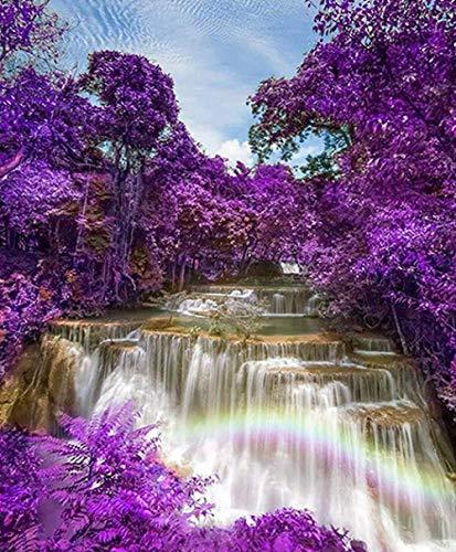 YHKTYV Cascada Bosque púrpura Juguetes de Entretenimiento Multicolor Pinturas Decorativas Rompecabezas Set 1000 Piezas Juguete Educativo y de descompresión
