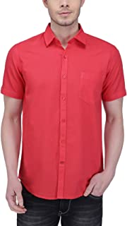Southbay Salmon Pink Linen Cotton Business Casual Shirt for Men
