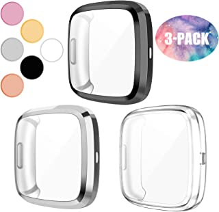 Wepro Screen Protector Case Compatible with Fitbit Versa 2 Smartwatch, 3-Pack Soft TPU Plated Bumper Full Cover Cases for Fitbit Versa Watch, Shock Proof Slim Fit Shell Replacement