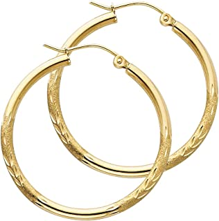 14K Yellow Gold 3mm Thickness Twisted Open Diamond-Cut Hoop Hinged Earrings Ioka
