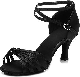 SWDZM Chaussures de Danse Femme Standard Latin Jazz Ballet Chaussures Satin Model-FR-217