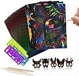FANDE Scratch Art para Niños, 50 Hojas Dibujo Láminas para Rascar Creativas Papel para Dibujar con Niños, Incluye 4 Plantillas de Plantillas de Dibujo y 5 lápices de Madera