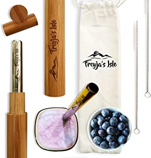 Freyja's Isle Eco-Friendly Reusable 2 Sets of Premium Stainless Steel Straws with Travel Friendly Bamboo Cases – Perfect for Boba Bubble Tea, Thick Milkshakes, Smoothies, Juices, Jumbo Drinks