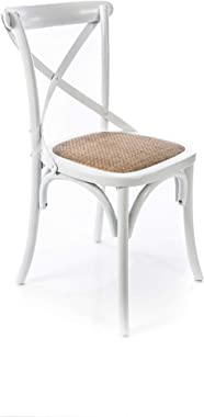 Boho Traders Back Chair with Solid Rattan Seat, Distressed White