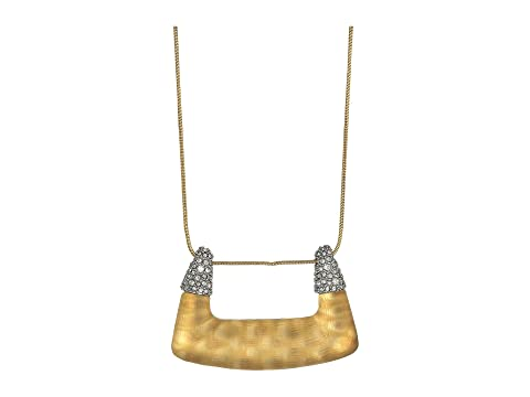 Alexis Bittar Crystal Encrusted Abstract Buckle Shape Pendant Necklace