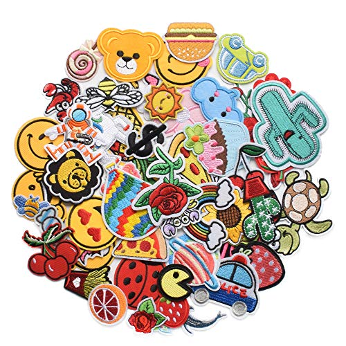Harsgs 60pcs Random Assorted Styles Embroidered Patches, Bright Vivid Colors, Sew On/Iron On Patch Applique for Clothes, Dress, Hat, Jeans, DIY Accessories