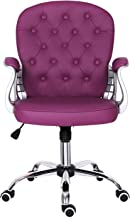 Desk Chair,Leather Office Chair with Mid Back Padded Computer Chair for Kids Adjustable Height Swivel Chair,Home/Office Fu...