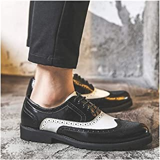 Leather Brogue Oxford for Men Formal Wedding Shoes Lace up Genuine Leather Perforated Round Toe Rubber Sole shoes (Color : Black, Size : 40 EU)