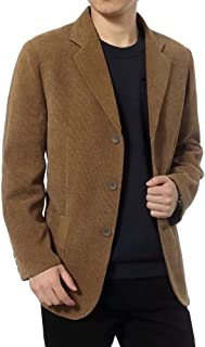 Men's Slim Fit Corduroy Blazer Sport Coat Notch Lapel Blazers Outwear Three-Button Jackets M-3XL