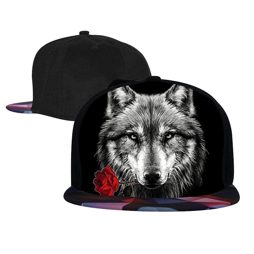 Wolf Rose 3D Printed Contrast Hip Hop Baseball Cap Adjustable Flatbrim Hats for Unisex piynfmb6536452