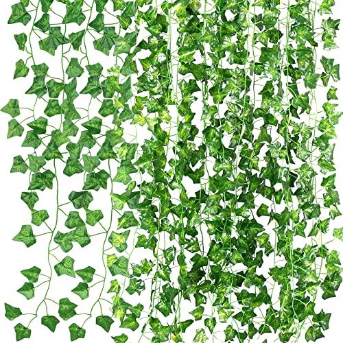 VIPNAJI Piante sospese artificiali,Confezione da 16 ghirlande artificiali di edera, edera a foglie verdi, Edera Finta Ghirlanda Vite,decorazione per cucina, casa, giardino, ufficio, matrimonio,115 ft
