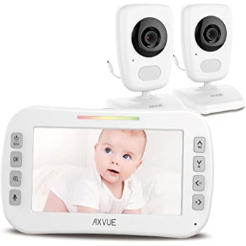 """[Brand New] Video Baby Monitor 5"""" High Resolution Screen, 2 HR Cam, Extra Long Range, Secure Wireless Technology, Built-in Auto Night Vision, Temperature Alert"""