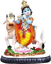 Polyester Resin Hand Crafted Regular Baby Krishna Murti with Flute and Cow Gau MATA Hindu God and Goddess Idol/Statue Figu...