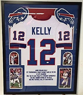 Jim Kelly Signed Custom Framed Buffalo Bills STAT Jersey - JSA Certified
