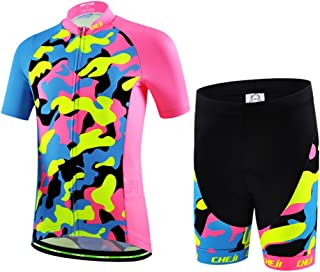 Kids Cycling Jersey Set Boys Girls 3D Padded Shorts Road Mountain Bike Short Sleeve Jersey Set/Top/Shorts
