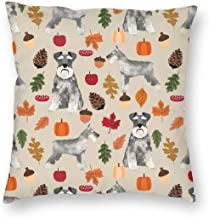 Pillowcases Schnauzer Dog Dogs and Autumn Dog - Tan for Sofa Bedroom livingroomTwo Sides Printing 18x18 inch