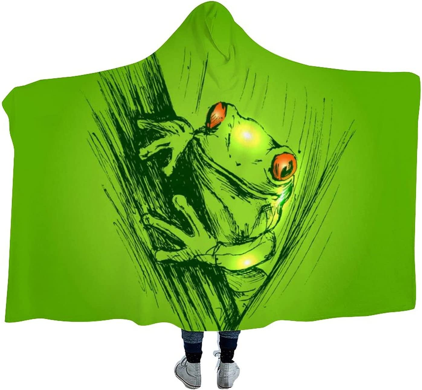 2021 spring and summer new Colored Hand Sketch Frogs Wearable Cloak Soft Manufacturer OFFicial shop for Blanket Hooded