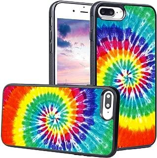 LEALIN iPhone 7 Plus Case,iPhone 8 Plus Case, Rainbow Tie Dye Pattern Antiskid Handle Black TPU Phone Case for iPhone 7Plus / 8 Plus Cover