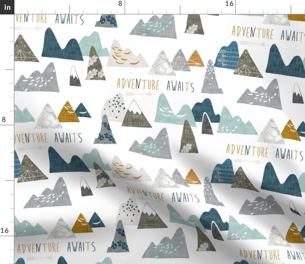Spoonflower 大決算セール Fabric - Mountain タイムセール Explore Outdoo Adventure White