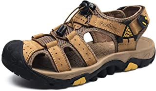 Summer Shoes Pu Leather Men Sandals Outdoor Sandals Summer Breathable Beach Shoes (Color : Khaki, Size : 39)