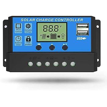Linkhood Solar Charge Controller, Dual USB Port Solar Panel Battery Intelligent Regulator, Multi-Function Adjustable LCD Display Street Light Controller (30A)