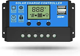 Linkhood Solar Charge Controller, Dual USB Port Solar Panel Battery Intelligent Regulator, Multi-Function Adjustable LCD Display Street Light Controller, 12V24V 30A