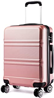 Kono 20 inch Cabin Suitcase Lightweight and Durable ABS Carry-on Hand Luggage 4 Spinner Wheels Trolley Case (Rose)