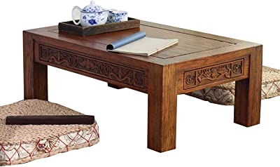 Rectangle Coffee Table Antique Carved Coffee Table Japanese Tatami Table Modern Yangtai Small Table for Living Room/Reception Room/Office,70 * 45 * 30cm