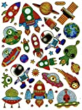 Rakete Mars Alien Saturn Astronaut Ufo bunt Aufkleber 35-teilig 1 Blatt 135 mm x 100 mm Sticker Basteln Kinder Party Metallic-Look