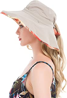 Lenikis Women's UPF50+ Sun Hat Wide Brimmed UV Protection Flap Hat with Ponytail Hole