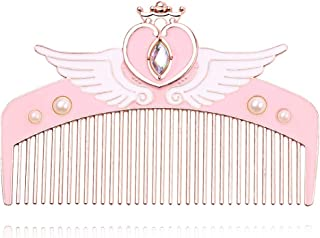 Sailor Moon Makeup Detangler Comb - Cute Pink Metal Hair Brush Sailor Moon Hair Comb with Crystal Wing Heart Star Shape Gueen Comb Top Quality Best Gift for Girlfriend (Style 2)