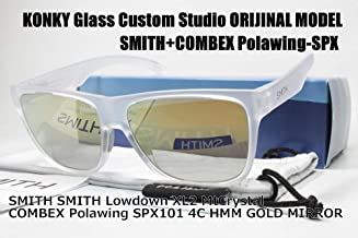 カスタム偏光サングラス SMITH スミス Lowdown XL2 MtCrystal ローダウン/COMBEX Polawing SPX101 CR 4C HMM フェザーグレイGOLDミラー