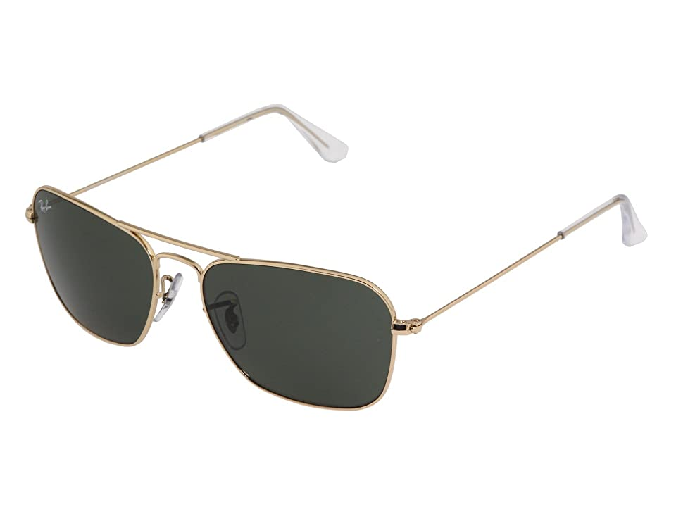 Ray-Ban RB3136 Caravan 55mm (5515 001 Gold W/ Green G-15xlt) Fashion Sunglasses
