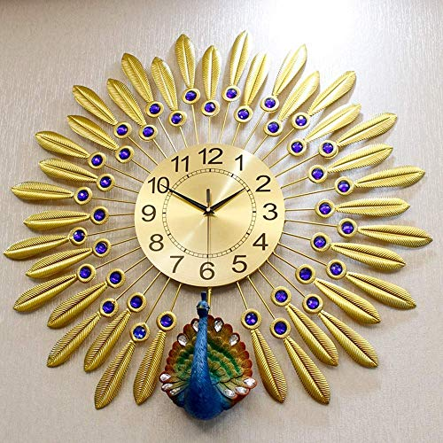 Reloj De Pavo Real Reloj De Pared Atmósfera Vivienda Hogar Moda Mude Mujer Mujer Modern Modern Moderna Minimalista Personalidad Clocho Creativo (Tamaño: L)