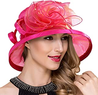 Ruphedy Lady Church Derby Dress Cloche Hat Fascinator Floral Tea Part Bucket Hat S051