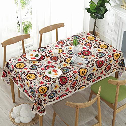 Meiosuns Ronde Tafelkleden Linnen Katoen Tafelkleed Zon Bloem Tafelkleed Kant Tafelhoes Multifunctioneel Binnen en Buiten