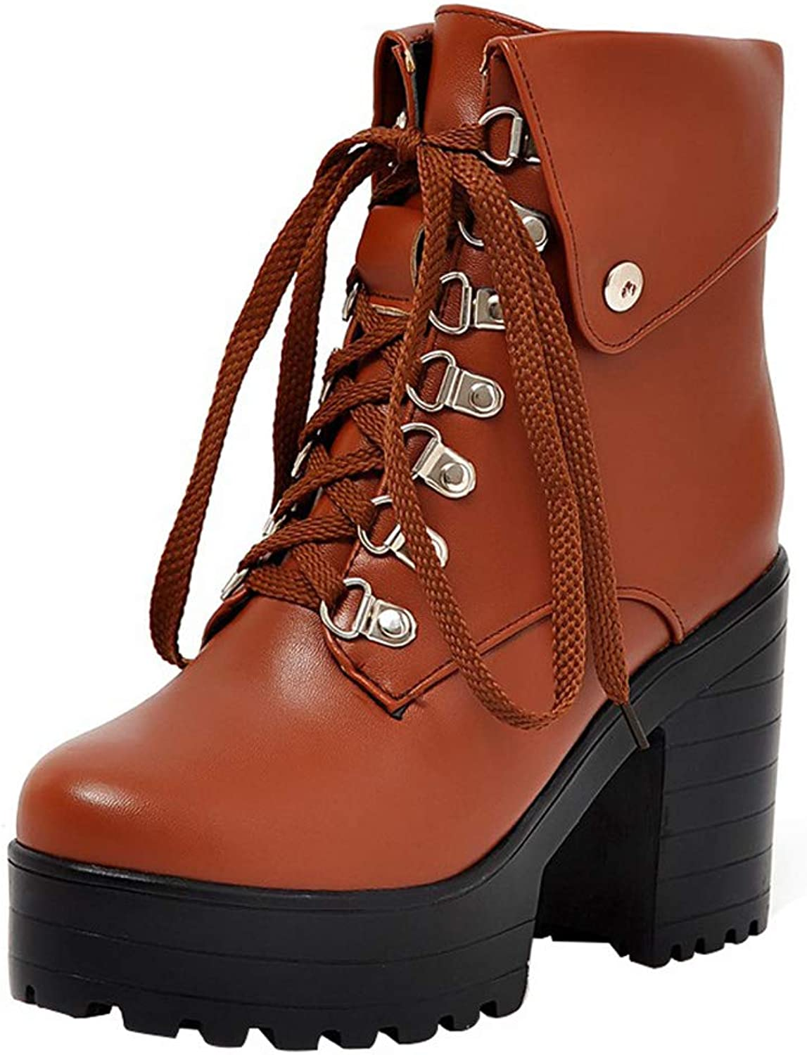 Vitalo Women Lace Up Chunky High Heel Ankle Platform Boots Autumn Winter Booties