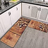 2 Piezas Alfombrillas de Cocina,Corchos de vino sobre suelo de madera rústica Elementos de licor orgánico natural Cosecha Antideslizante Alfombra para puerta de Baño Juego de alfombras Cocina lavables