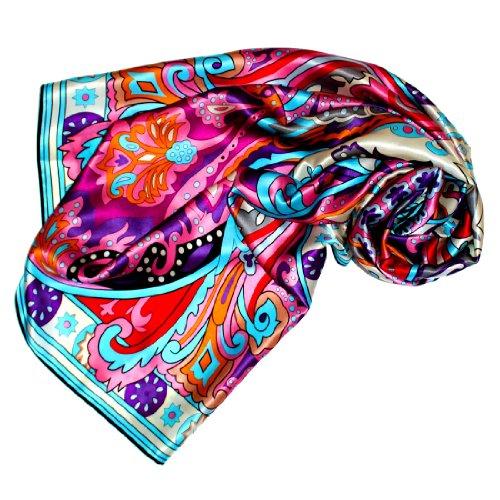 LORENZO CANA Foulard pour la femme – écharpe à la mode de 100% soie pour le printemps et l´été avec les mesures de 110 x 110 cm – soyeux, élégant et très coloré – une sensation de luxe