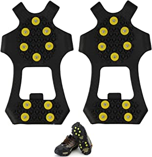 Anti Slip Ice & Snow Grips Traction Cleats Rubber Spikes10-Studs Crampons Slip-on Stretch Footwear Men Women Children S/M/L/XL
