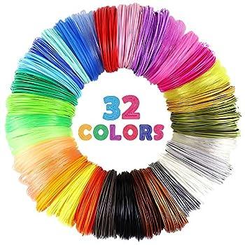 MIKA3D 32 Colors 3D Pen PLA Filament Refills Each Color 10 Feet Total 320 feet Pack with 4 Finger Caps