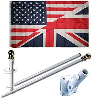 MWS 3'X5' USA American Great Britan British Flag US UK Friendship Union Jack Premium 210D 3x5 Flag Set (Super Polyester) w/Heavy Duty 6-Feet Spinning Flag Pole Bracket Residential Commercial