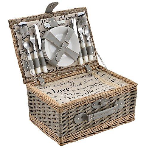 casa.pro Picknickkorb für 4 Personen Picknick-Set mit Kühltasche inkl. Geschirr Besteck Korkenzieher und Gläser Grau