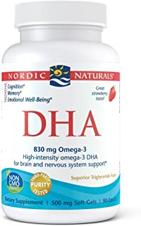 Nordic Naturals DHA, Strawberry - 90 Soft Gels - 830 mg Omega-3 - High-Intensity DHA Formula for Brain & Nervous System Su...