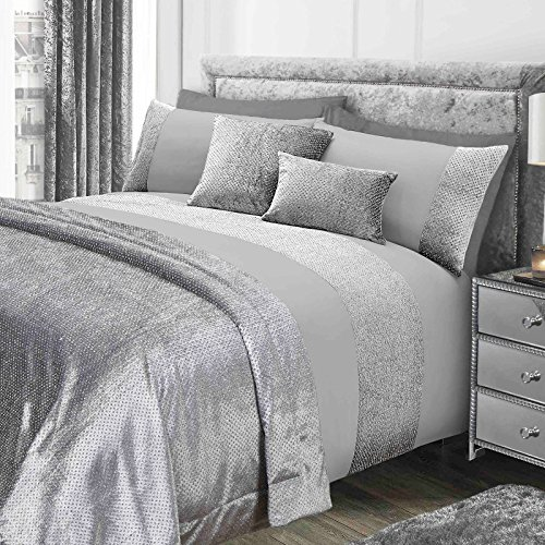 Sienna Glitter Duvet Cover with Pillow Case Sparkle Glitz Velvet Bedding Set - Grey Silver, Double