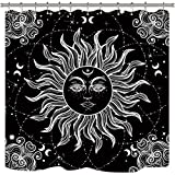 Riyidecor Mandala CelestialShower Curtain Sun Moon Black and White Decor Medallion Floral Fabric Set Polyester Waterproof 72x72 Inch 12 Pack PlasticHooks