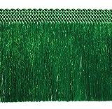 5,0 lfm Fransen 60mm breit / Länge 500 cm Farbe Grün / Fransenborte Posamentenborte Bordüre Decoborte Borte Spitzenborte Shabby Chic Brokat Spitze Antik Jugendstil Barock