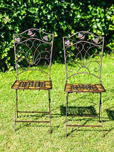 2X Coppia da Giardino Sedia Sedile bistrot in Ferro battuto Stile Antico Pietra