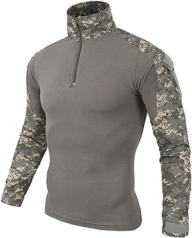 LiliChan Camisa Táctica de Manga Larga para Hombre Camisa Militar Camisa de Combate al Aire Libre Camisa de Combate Táctica con Cremallera